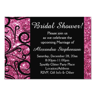 Pink Sparkly Swirl Bridal Shower Card
