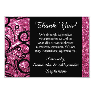 Pink Sparkly Swirl Thank You Note Card