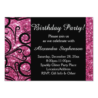 Pink Sparkly Swirl Women's Birthday Party Card