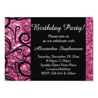Pink Sparkly Swirl Women's Birthday Party Card