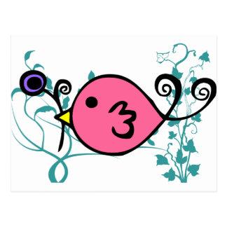 Pink Sparrow by Kristina Hansen Postcard