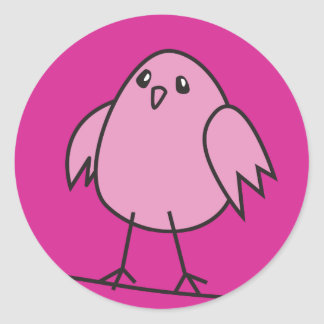 pink sparrow classic round sticker