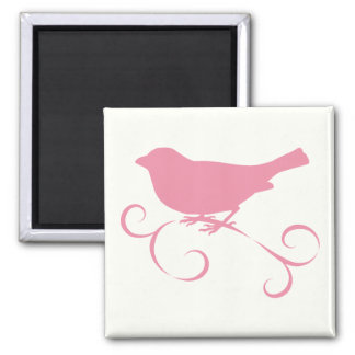 Pink Sparrow with Ribbon 2 Inch Square Magnet