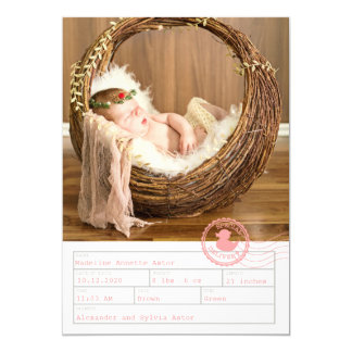 Pink Special Delivery Birth Announcement
