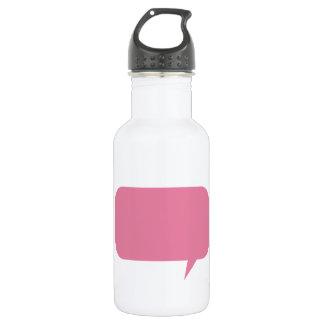 Pink speech bubble custom saying personalized water bottle