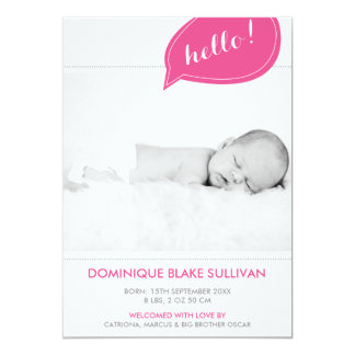 Pink Speech Bubble Modern Birth Announcements