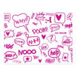 pink speech bubbles postcard 01
