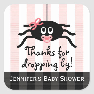 Pink Spider Baby Shower Thank You Stickers