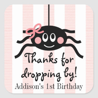 Pink Spider Birthday Thank You Stickers