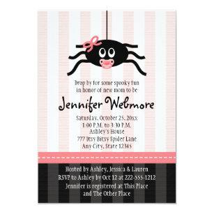 Halloween baby shower invitations announcements zazzle pink spider halloween baby shower invitations filmwisefo
