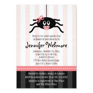 Pink Spider Halloween Baby Shower Invitations