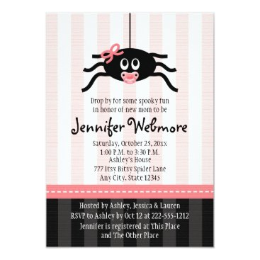 Halloween Themed Pink Spider Halloween Baby Shower Invitations