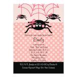 Pink Spider Halloween Birthday Invitations