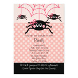 "Pink Spider Halloween Birthday Invitations 5"" X 7"" Invitation Card"
