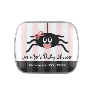 Pink Spider Pacifier Baby Shower Favor Jelly Belly Tins