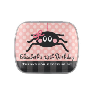 Pink Spider With Bow Party Favor Candy Tin