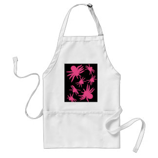 Pink Spiders With Black Background Adult Apron