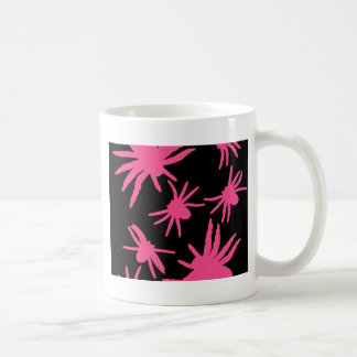 Pink Spiders With Black Background Coffee Mug