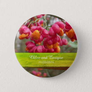 Pink Spindle Personalized Wedding favour button