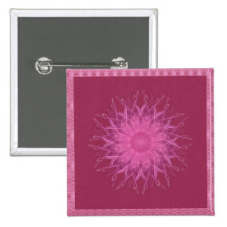 Pink Spinner Mandala 2 Inch Square Button