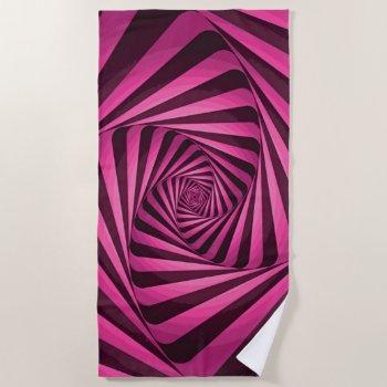 Pink Spiral Beach Towel