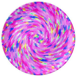 Pink Spiral Colored Circles Swirl Pattern Porcelain Plate