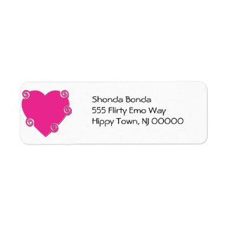 Pink Spiral Heart Label