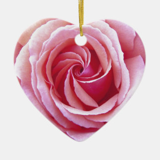Pink Spiral Rose Double-Sided Heart Ceramic Christmas Ornament