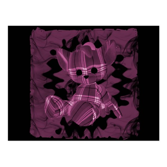 Pink Spiral Smoke Teddy Bear Postcard