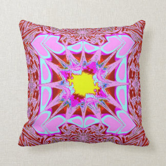 Pink Splatter of Hearts on Red American MoJo Pillo Throw Pillow