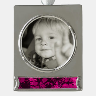 Pink Splattered Paint Silver Plated Banner Ornament