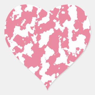 Pink Splotchy Print Heart Sticker