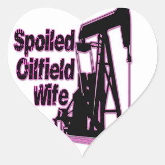 Pink Spoiled Oilfield Wife Heart Sticker