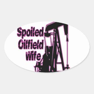 Pink Spoiled Oilfield Wife Oval Sticker
