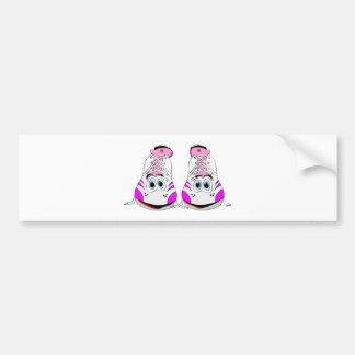 Pink Sports Shoes Cartoon Bumper Sticker