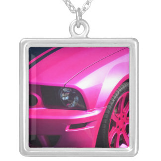 """""""Pink SportsCar"""", Silver Plated Square Necklace"""