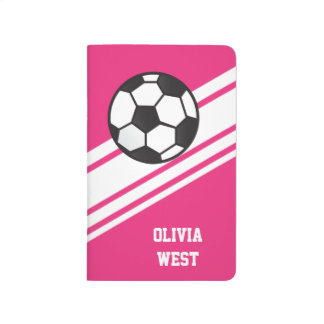 Pink Sporty Stripes Personalized Soccer Journal