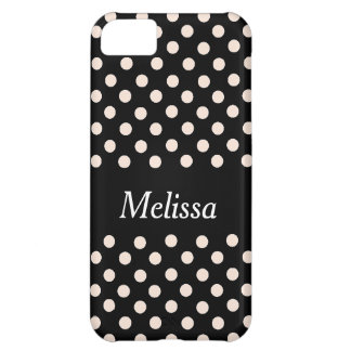 Pink Spot Polka Dot On Black Personalized Case Cover For iPhone 5C