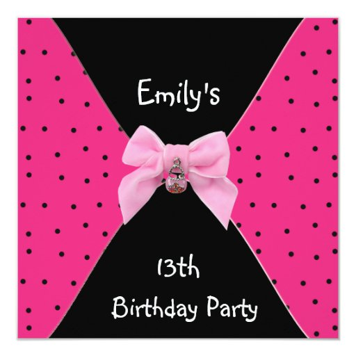 Pink Spots Invitation Cute Bow 13th Birthday Custom Announcement