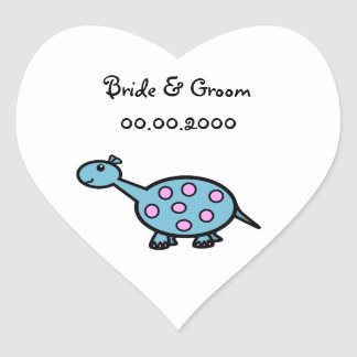 Pink spotted baby dinosaur heart sticker