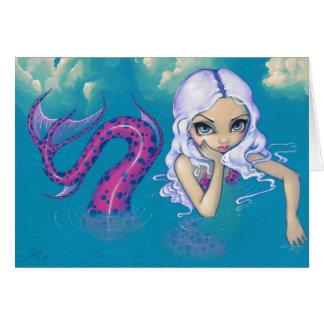 """Pink Spotted Mermaid"" Greeting Card"