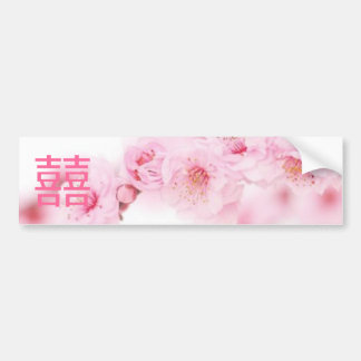 Pink Spring Blossom Chinese Wedding Save The Date Bumper Sticker