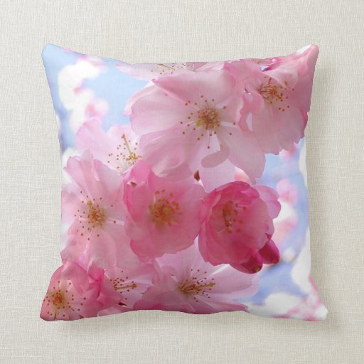 Pink spring blossom pillow