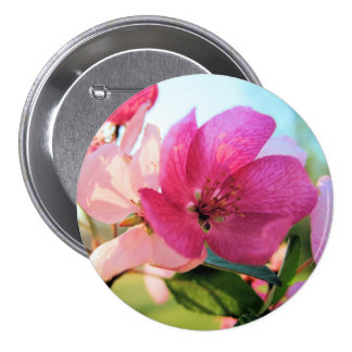 Pink Spring Blossoms Button