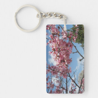 Pink Spring Blossoms Single-Sided Rectangular Acrylic Keychain