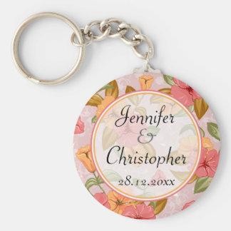 Pink Spring Floral Wedding Basic Round Button Keychain
