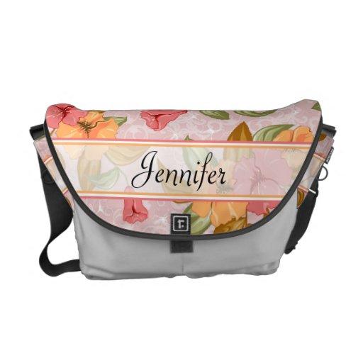 Pink Spring Floral Wedding Courier Bag