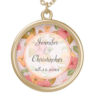 Pink Spring Floral Wedding Round Pendant Necklace