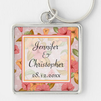 Pink Spring Floral Wedding Silver-Colored Square Keychain