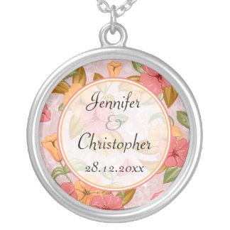 Pink Spring Floral Wedding Silver Plated Necklace